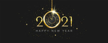 Happy New Year 2021. Luxurious New Year Celebration Banner With Antique Gold Clock Hanging, Sparkling Glitters, And Stars On Black Background. Realistic 3D Object. Holiday Vector Illustration.