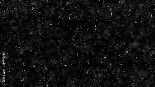 Carta da parati Snowflakes falling on black background