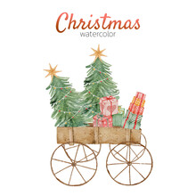 Christmas Carriage Card With Watercolor
