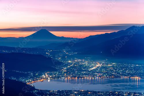 Billede på lærred 高ボッチから眺める富士山と諏訪湖