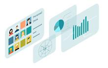 アイソメトリック、企業戦略やマーケティング、決算などのビジネスイメージイラスト