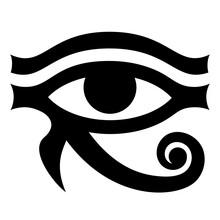 The Eye Of Horus. Ancient Symbol Pattern. Vector Monochrome Illustration. White Background