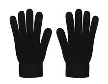 Black  Winter Gloves. Vector Illustration