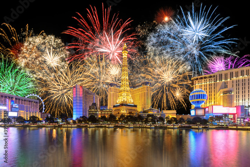 Foto New Year celebration fireworks on Las Vegas strip, Nevada, USA.