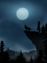 Howling Wolf On The Moon Night
