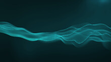 Abstract Wave Tidewater Green. Technology Background. Deep Digital Network Concept.