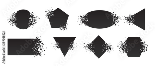 Shape shattered and explodes flat style design vector illustration set isolated on white background. Square rhombus, triangle, rectangle, hexagon, ellipse shapes in grayscale gradient explosion. - fototapety na wymiar