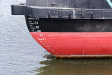 Close-up Of Waterline Markings On The Ship's Bow