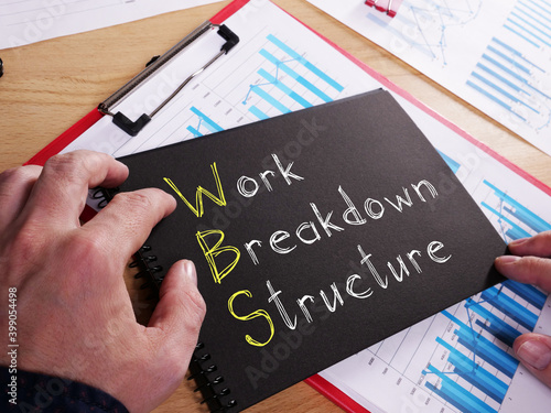 Work Breakdown Structure WBS is shown on the business photo using the text Fototapet
