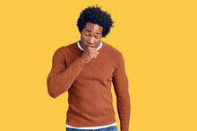 Handsome African American Man With Afro Hair Wearing Casual Clothes Feeling Unwell And Coughing As Symptom For Cold Or Bronchitis. Health Care Concept.