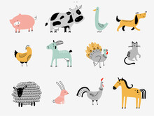 Flat Vector Illustration Of Cute Farm Animals