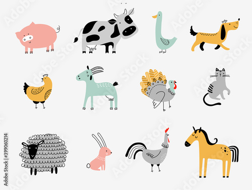 Valokuva flat vector illustration of cute farm animals