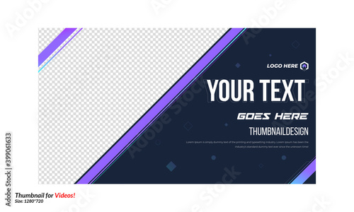 Obraz Editable thumbnail design for your videos customizable video gradient thumbnail design concept video cover pic template fully editable. Fully editable thumbnail for social media channel thumbnail - fototapety do salonu