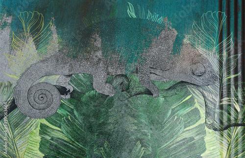 Tapety Loftowe  tropikalne-liscie-i-rosliny-z-rysowane-kameleon-na-betonowej-scianie-grunge-swietny-wybor-na-tapete-fototapete-mural-kartke-pocztowke-design-do-wnetrz-nowoczesnych-i-loftowych