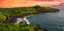 Hawaiin Beach With Volcanic Sand