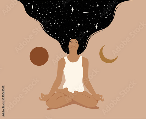 Meditation or mindfulness or dreaming concept with woman sitting in lotus pose with crossed legs and raised dark hair with starry space texture Fototapeta