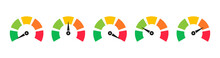 Set Of Colorful Speedometers, Tachometers Or Gauges. Scale With Arrow. Level Satisfaction. Credit Score Indicators. Colored Infographics.