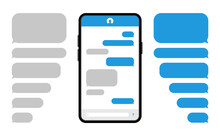 Smartphone With Blue Message Bubbles. Speech Bubbles For Chat. Phone Chat Screen And Text Sms. Messenger Interface. Vector.
