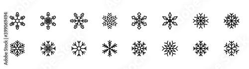 Carta da parati Set of snowflake icons