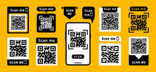 Set Of QR Codes With Inscription Scan Me With Smartphone. Scan Qr Code Icon. Qr Code For Payment, Mobile App And Identification. Vector Illustration.