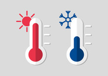 Thermometer With Hot Or Cold Temperature. Celsius Meteorological Thermometers For Measure Temperature. Weather Flat Icons.