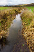 Agricultural Drainage Ditch To Remove Excess Water From Waterlogged Fields On A Farm