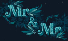 Mr & Mr Floral Typography Banner, Gay Card