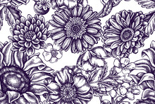 Artistic Seamless Pattern With Poppy Flower, Gerbera, Sunflower, Milkweed, Dahlia