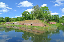 """KALININGRAD, RUSSIA. Fort No. 5 """"King Frederick William III"""" Surrounded By A Moat With Water"""