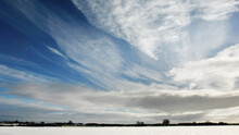Field Landscape In Snow, North Yorkshire, England, United Kingdom