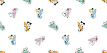 Cat Seamless Pattern Kitten Calico Pencil Color Paint Vector Pet Scarf Isolated Repeat Background Cartoon Animal Tile Wallpaper Illustration Doodle Design