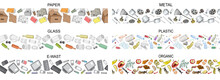 Set Of Seamless Borders With Sorted Metal Garbage Isolated On White. Collection Of Patterns With Separate Debris. Part 1. Vector Pattern.
