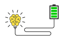Concept Illustration Of Brain Charging From An Electric Battery, Power Bank . Business Concep Human Brains And Charge. Flat Style Energy Education Concept Design Of Brain For Web, Site, Banner, Poster
