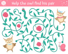 Saint Valentine Day Maze For Children. Holiday Preschool Printable Educational Activity. Funny Game With Birds. Romantic Puzzle With Love Theme. Help The Owl Find His Pair .