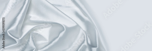 Photo White wave silk fabric horizontal background