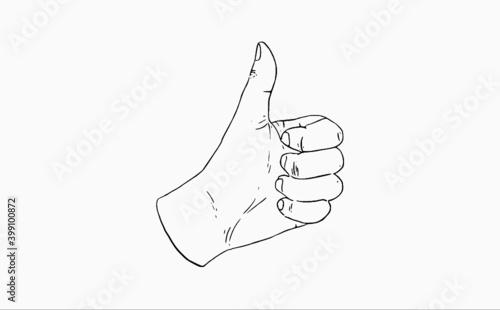 Obraz Kciuk w górę symbol polubienia oraz akceptacji, ręczny rysunek, ilustracja, ikona social media.  - fototapety do salonu