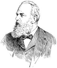 Portrait Of Christian Albert Theodor Billroth - An Austrian Surgeon. Illustration Of The 19th Century. Germany. White Background.