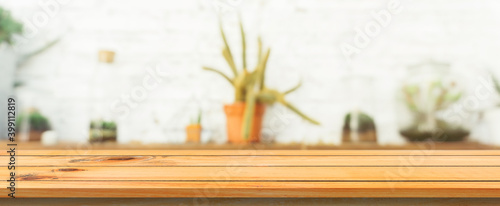 Canvas Print Wooden board empty table top blurred background