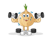 Garlic Weight Training Illustration. Character Vector
