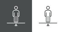 Logotipo Hombre En Equilibrio En Balanza Con Lineas En Fondo Gris Y Fondo Blanco