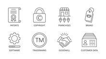 Vector Icons Of Intangible Assets. Editable Stroke. Business Set Symbols Patents Copyright Franchises Goodwill Trademarks Brand Names Self-developed Software Licenses. Isolated On A White Background