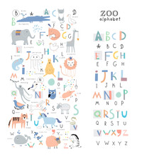 Основные RGBCute Zoo Alphabet With Funny Animals In Vector . Letters. Learn To Read. Isolated.