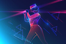 Virtual Reality Gaming. Woman Wearing Vr Headset And Using Light Swords In Abstract World. Vector Illustration