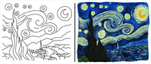 "Coloring Page With ""The Starry Night"" Based On Vincent Van Gogh's Painting."