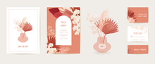 Modern Minimal Art Deco Wedding Vector Invitation Set. Boho Orchid, Pampas Grass, Lunaria Card Template