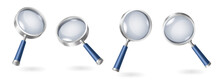 Set Of Magnifying Glasses Realistic Isolated On White Background With Shadows