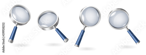 Canvas Print Set of magnifying glasses realistic isolated on white background with shadows