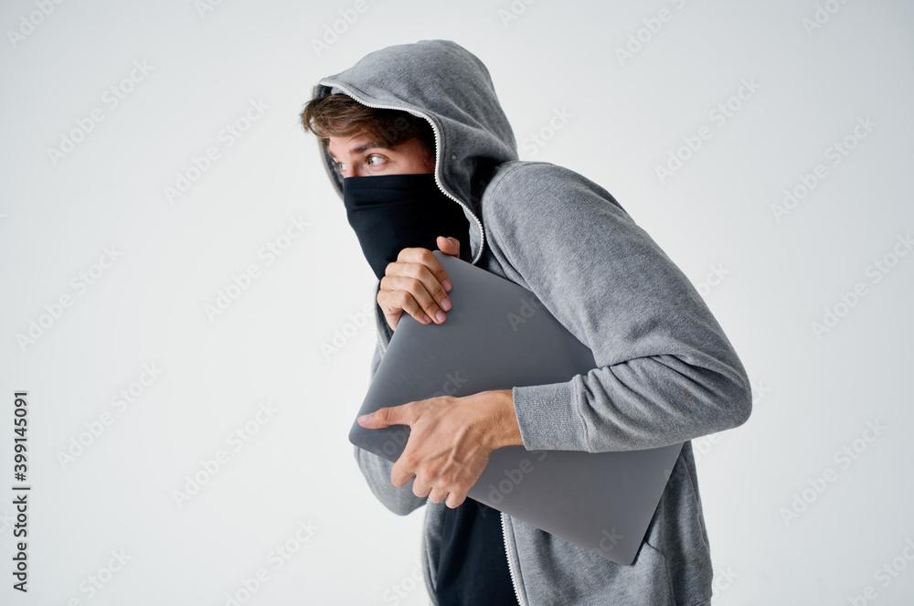 Fototapeta male thief secret penetration store theft bully crime hacker