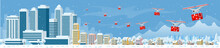Drones With Delivering Christmas Gifts In The City And Snow Falling. Delivering By Drones To Home. Gifts In Bright Boxes. Winter City Snowy Downtown With Skyscrapers Business Buildings