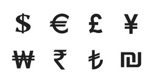 Currency Symbol Set. World Money Signs. Financial Infographic Design Elements